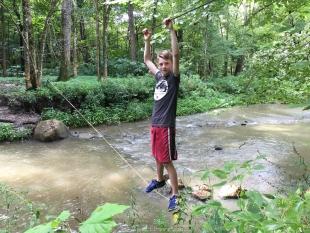 Wyatt Elmore crossing Indian Creek