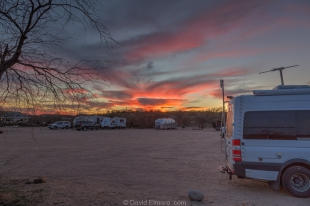 Sunset and Vanessa at Ringtail loop in Catalina State Park