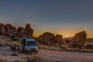 Sunset at our campsite, City of Rocks State Park, New Mexico