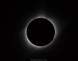 Prominences and inner corona at the 2017 solar eclipse at Glendo State Park, Wyoming