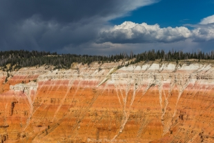 Storm over cliff layers at Cedar Breaks National Monument, Utah