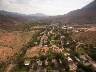Drone view of Springdale, Utah