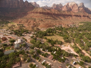 Drone view of Springdale, Utah and entrance to Zion National Park