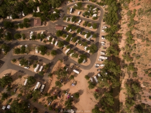Drone view of Zion Canyon Campground, Springdale, Utah