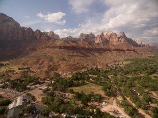 Drone view of Zion National Park entrance and Watchman Campground