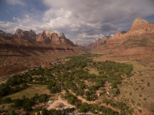 Drone view of Zion National Park Watchman Campground with Watchman peak on the upper right