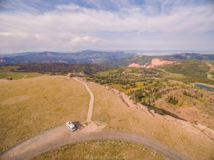 Drone veiw from Brian Head Peak, near Cedar Breaks National Monument, Utah