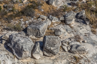 Boulders below Presa Canyon Overlook, Canyon Rim Trail, Seminole Canyon State Park, Texas