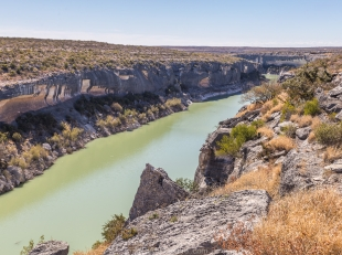 The canyon is filled by the Amistad dam, Canyon Rim Trail, Seminole Canyon State Park, Texas