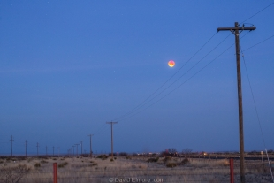 Total Super Blue Blood-red Lunar Eclipse at first sunrise light, Marfa, Texas