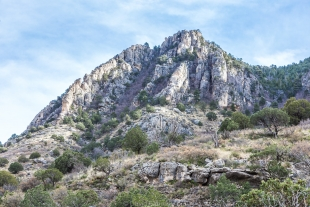 Sunlit mountain along Devil's Hall Trail, Guadalupe Mountains National Park, Texas