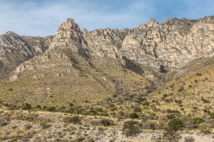 Hunter Peak in late sun along Devil's Hall Trail, Guadalupe Mountains National Park, Texas