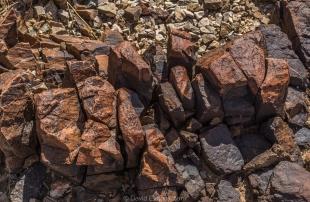 Weathered and fractured rock along hike around Crystal Hill, Kofa National Wildlife Refuge, Arizona