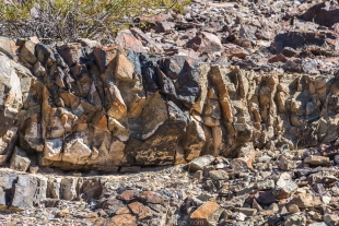 Colorful fractured rock, Crystal Hill area, Kofa National Wildlife Refuge, Arizona