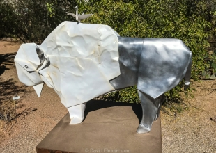 White Bison: Origami by Kevin and Jennifer Box, Tucson Botanical Gardens, Arizona