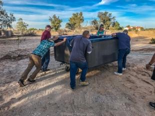 Moving a spa into place, Yuma, Arizona