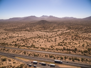 Drone view facing south along interstate 8 near Maricopa, Arizona