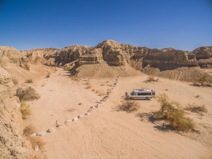 Drone view of campsite, Mecca Hills Wilderness, Box Canyon Road, California