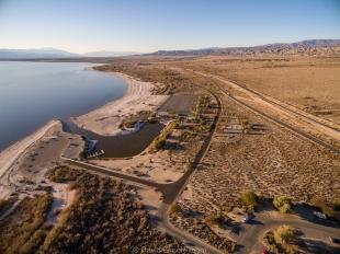 Drone view of Headquarters and Varner Harbor, Salton Sea SRA, Mecca, California