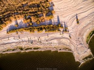 Drone view of beach south of New Camp, Salton Sea SRA, Mecca, California