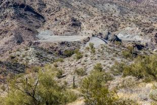 Back side of dam and spillway, Alamo Lake State Park, Arizona