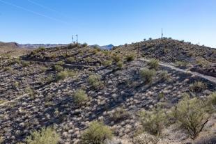 Communication towers above dam, Alamo Lake State Park, Arizona