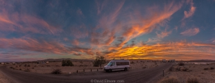 Sunset panorama over campground E, Alamo Lake State Park, Arizona