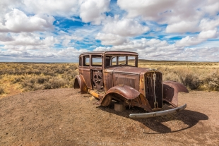 Antique car at former Route 66 location, Petrified Forest National Park, Arizona