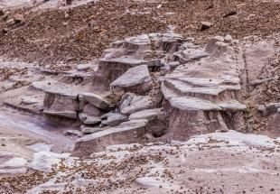 Rocks prevent erosion, Blue Mesa Trail, Petrified Forest National Park, Arizona