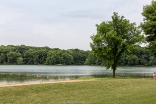 Swimming beach on Lake Dawson, Moraine View State Park, Ellsworth, Illinois