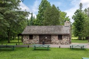 Stone pavilion, Ojibwa Park, Winter, Wisconsin