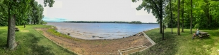 Panorama of swimming beach, Chippewa Campground, Chequamegon National Forest, Gilman, Wisconsin