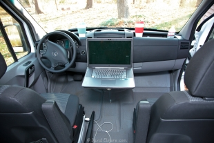 Laptop on small table for GPS Copilot while driving
