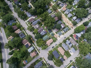 Drone view of Poltter, Lawrence, and Van Deusen Streets