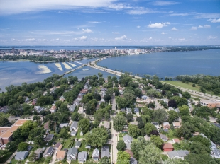 Aerial view of Lake Monona and Madison