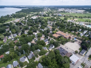 Aerial view towards Veterans Memorial Coliseum from Drone
