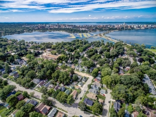 Drone view from Goodman Park towards Monona Bay and Madision WI