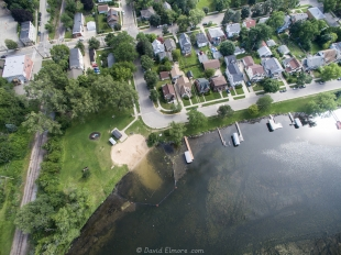 Drone view of Bernie's Beach Park and Properties along Monona Bay