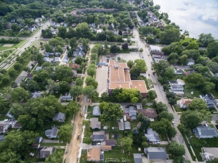 Aerial view of Franklin Elementary School and Potter Street under construction