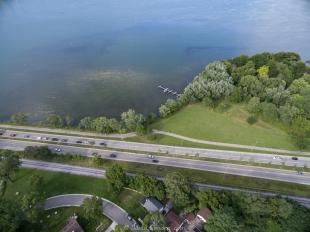 Drone view of Lake Monona and John Nolen Drive
