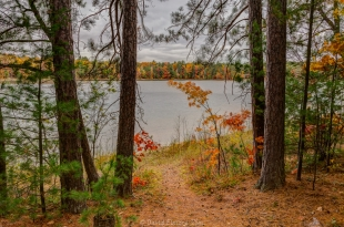 Views of fall colors along trail around Firefly Lake, Wisconsin