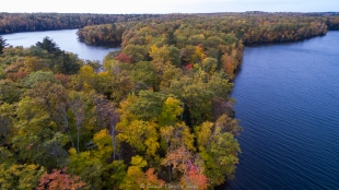 Fall drone view of both lakes at Two Lakes Campground, Lake Owen, Drummond, Wisconsin