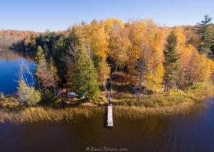Drone view of Elmore's Windigo Point on Long Lake, Wisconsin