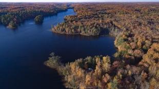 Drone views of Windigo Point, Long Lake, Wisconsin, at sunset