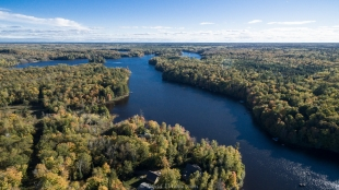 Drone view of Long Lake, WI, looking south