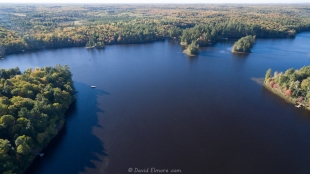 Drone view of Long Lake, WI, looking west