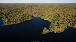 Drone view of Long Lake, WI, looking east