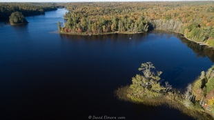 Drone view of Long Lake, WI, looking north