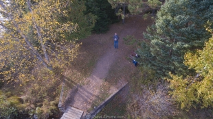 Drone view of East Twin Lake Campground near Clam Lake, Wisconsin showing David and Janet