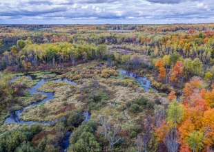 Drone view near Morgan Falls trailhead parking, Lincoln, Bayfield County, Wisconsin